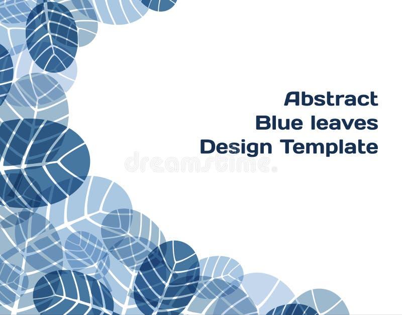 背景蓝色创造性的叶子 库存例证