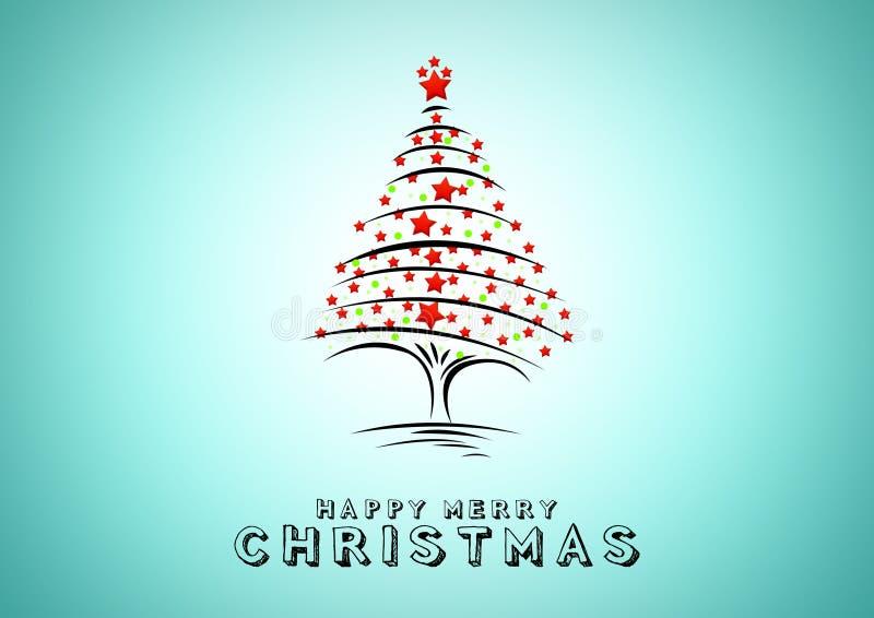 背景蓝色圣诞树 假日卡片的设计元素 向量例证