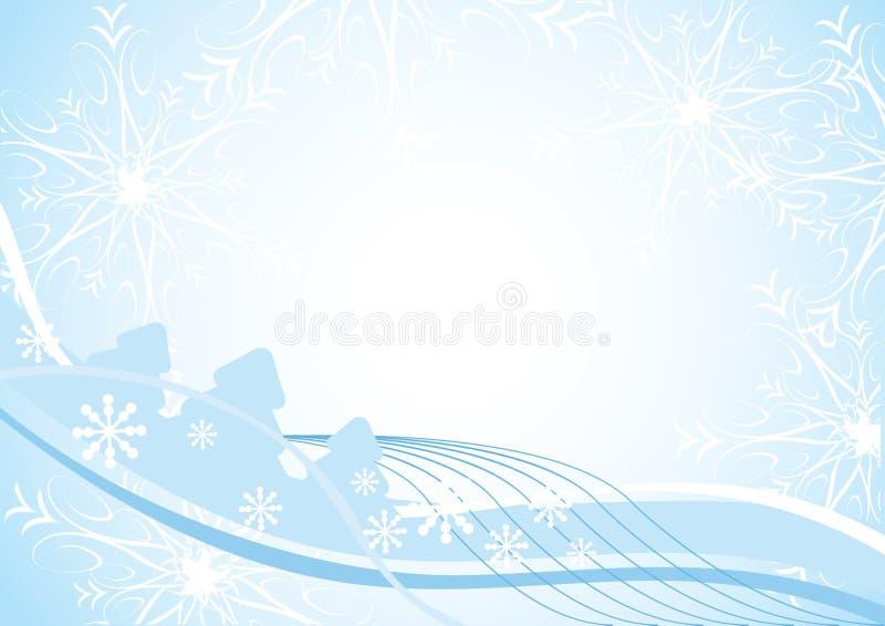 背景蓝色圣诞节冷杉木 向量例证