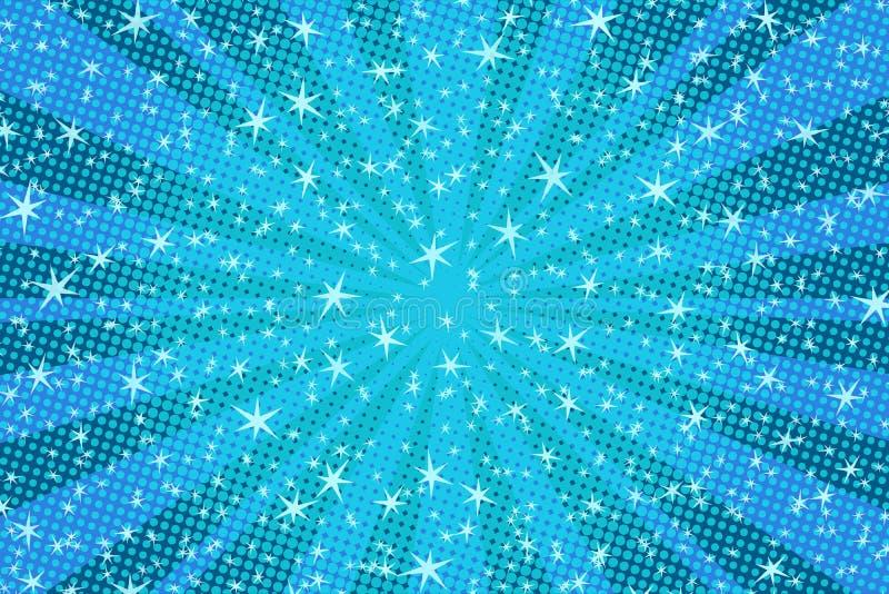 背景蓝色圣诞节星形 皇族释放例证
