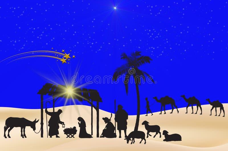 背景蓝色圣诞节雪雪花 向量例证