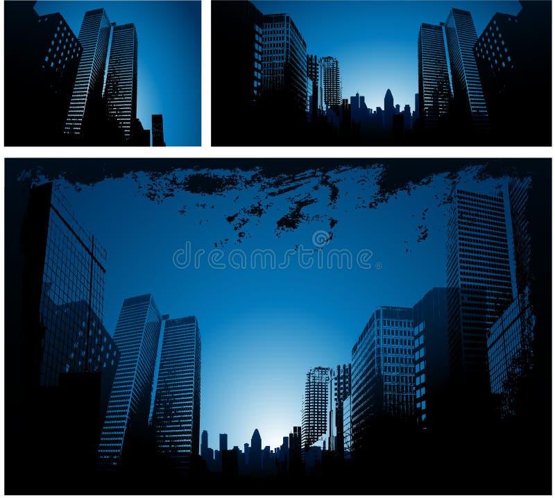背景蓝色城市 库存例证