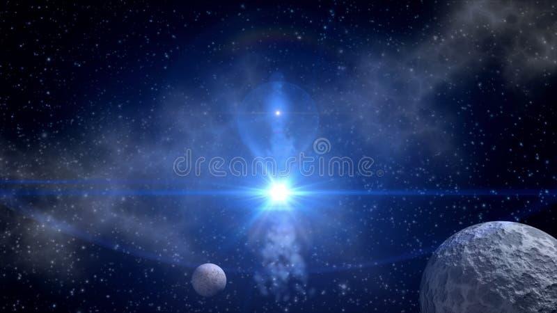 背景蓝色展开fi sci星形 皇族释放例证