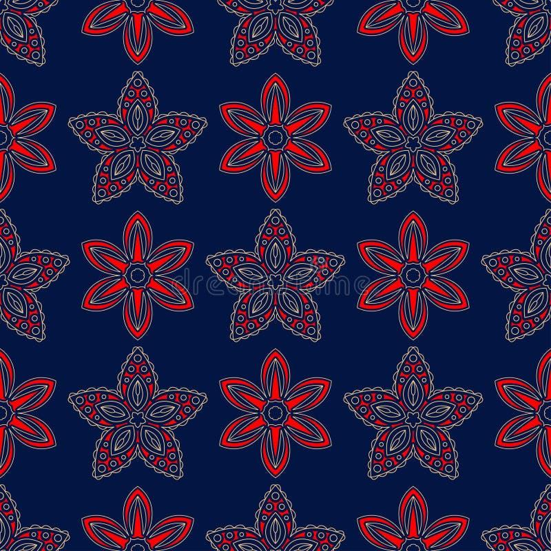 背景蓝色无缝 花卉米黄和红色样式 库存例证