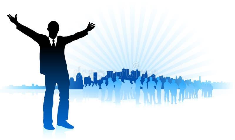 背景蓝色生意人城市 库存例证