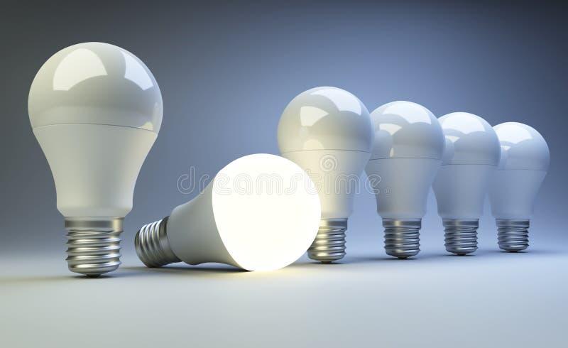 背景蓝色电灯泡光行 创造性的想法概念 库存例证