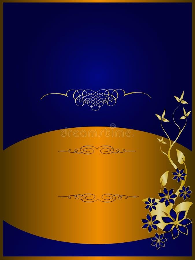 背景蓝色花卉金子 皇族释放例证