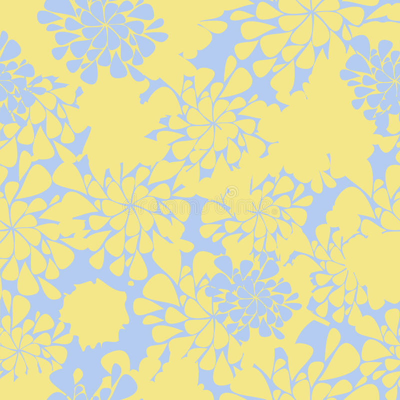 背景蓝色花无缝的黄色 库存例证