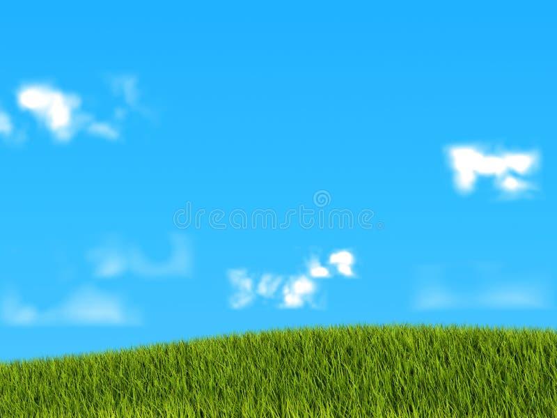 背景蓝色草绿色天空 皇族释放例证