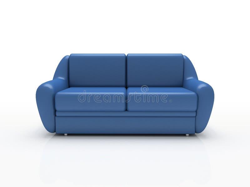 背景蓝色被绝缘的沙发白色 免版税库存照片