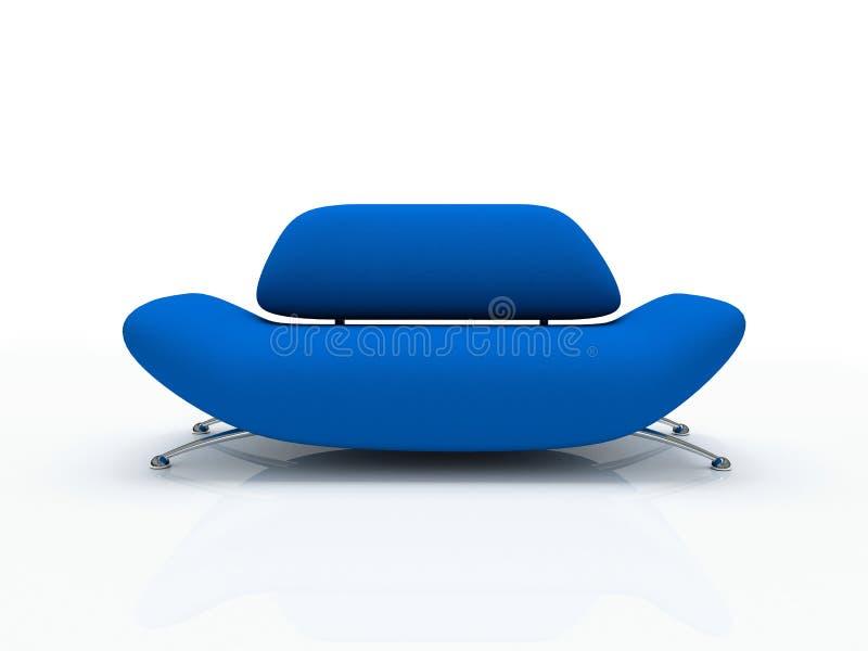 背景蓝色被绝缘的沙发白色 向量例证