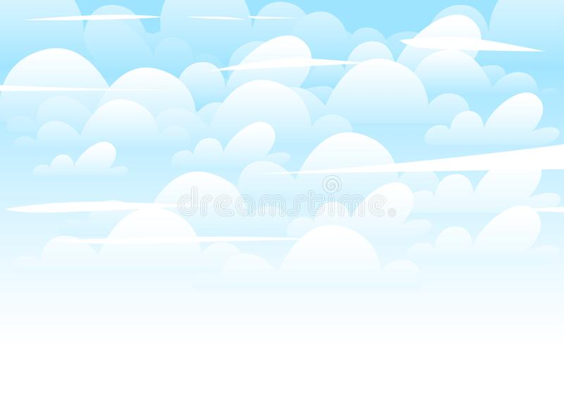 背景蓝色覆盖早晨射击天空白色 平的动画片样式illustation 向量例证