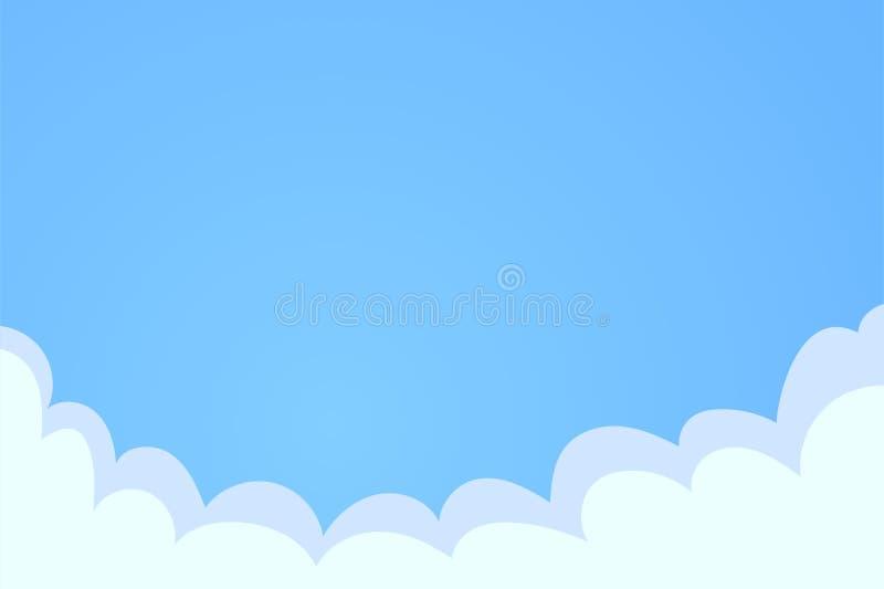 背景蓝色覆盖早晨射击天空白色 覆盖在天空,与地方的平的传染媒介例证文本的 库存例证