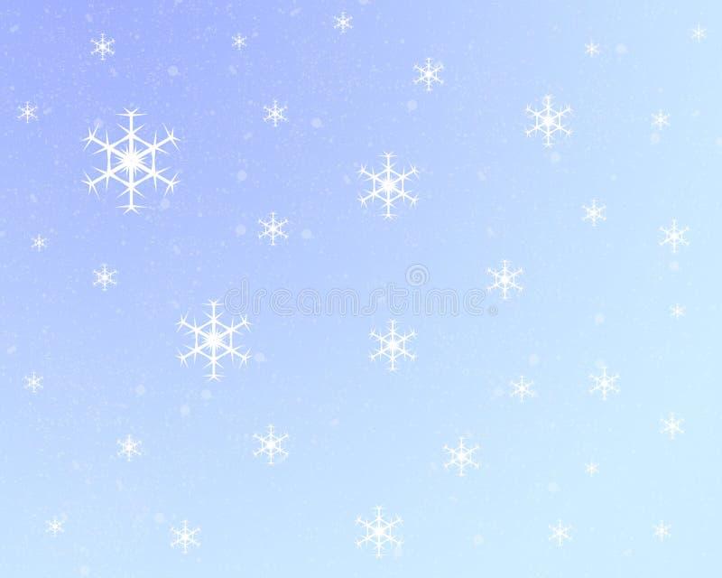 背景蓝色轻的雪花 库存例证