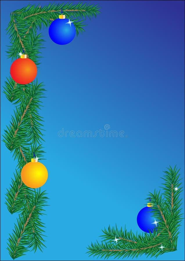 背景蓝色边界圣诞节 库存例证