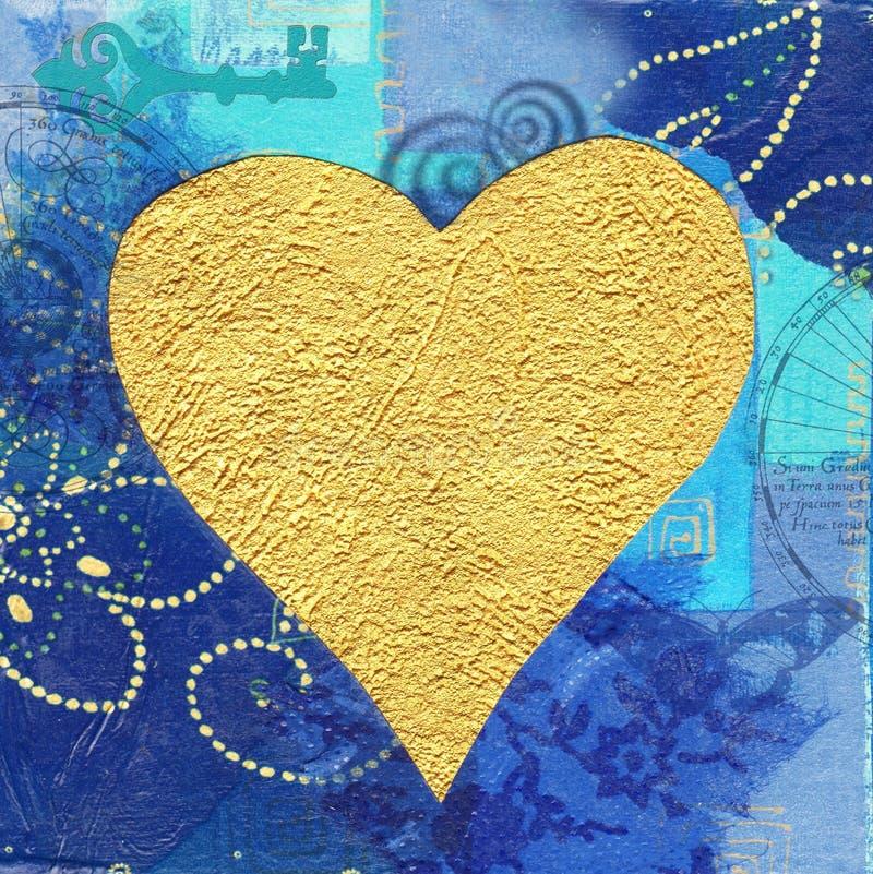 背景蓝色金黄重点 皇族释放例证