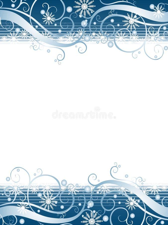 背景蓝色雪花冬天妙境 库存例证