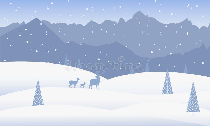 背景蓝色雪花白色冬天 与山、小山、雪漂泊、松树和鹿的冬天风景 向量例证