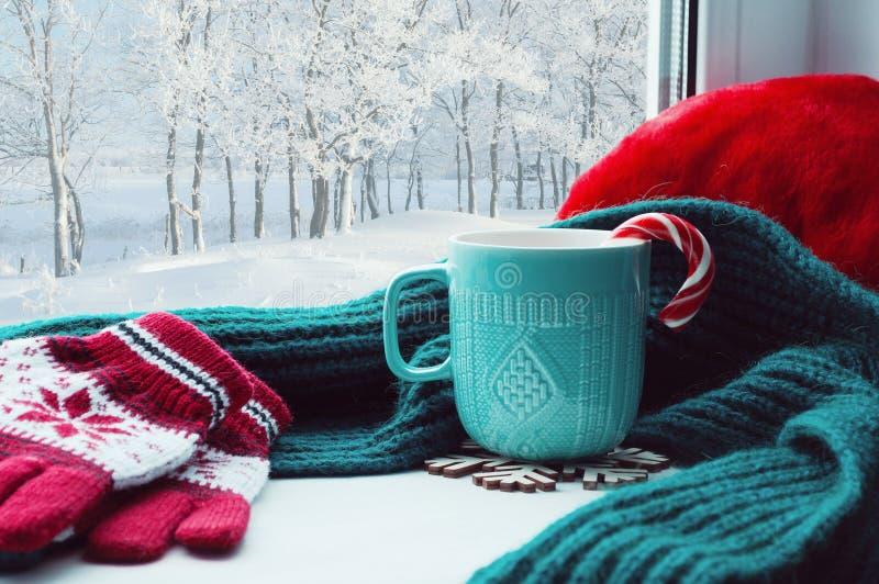 背景蓝色雪花白色冬天 有棒棒糖、羊毛围巾和红色手套的杯在外面窗台和冬天森林 库存照片