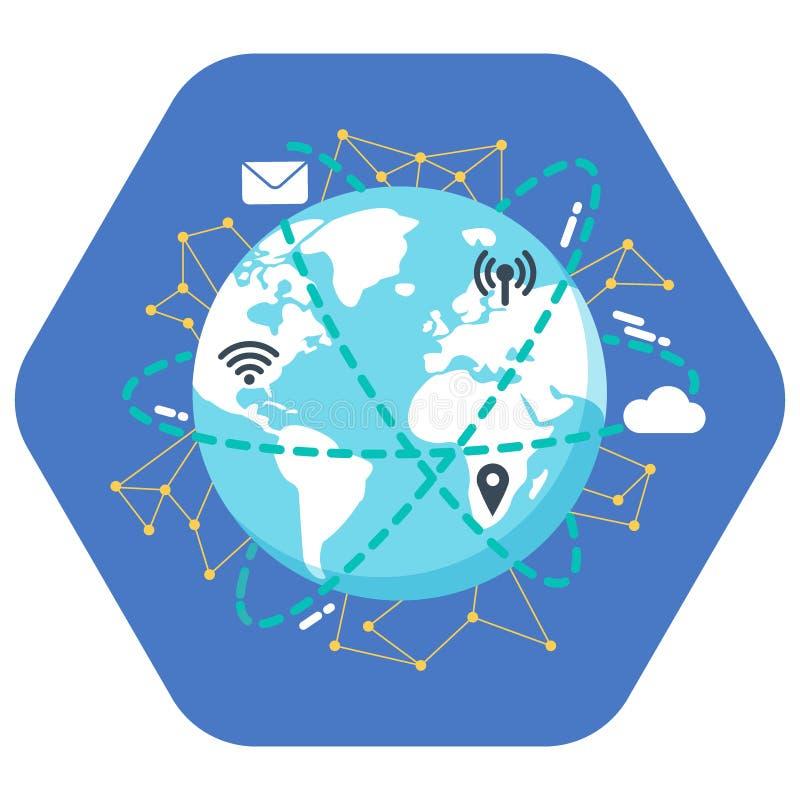 背景蓝色颜色概念互联网 平的例证设计 接地在蓝色背景的象与wifi, gps地点,热点,邮件,云彩象 皇族释放例证