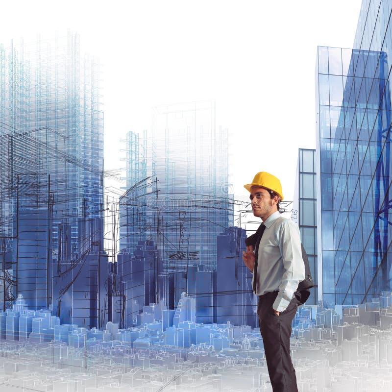 背景蓝色建造计划 库存图片