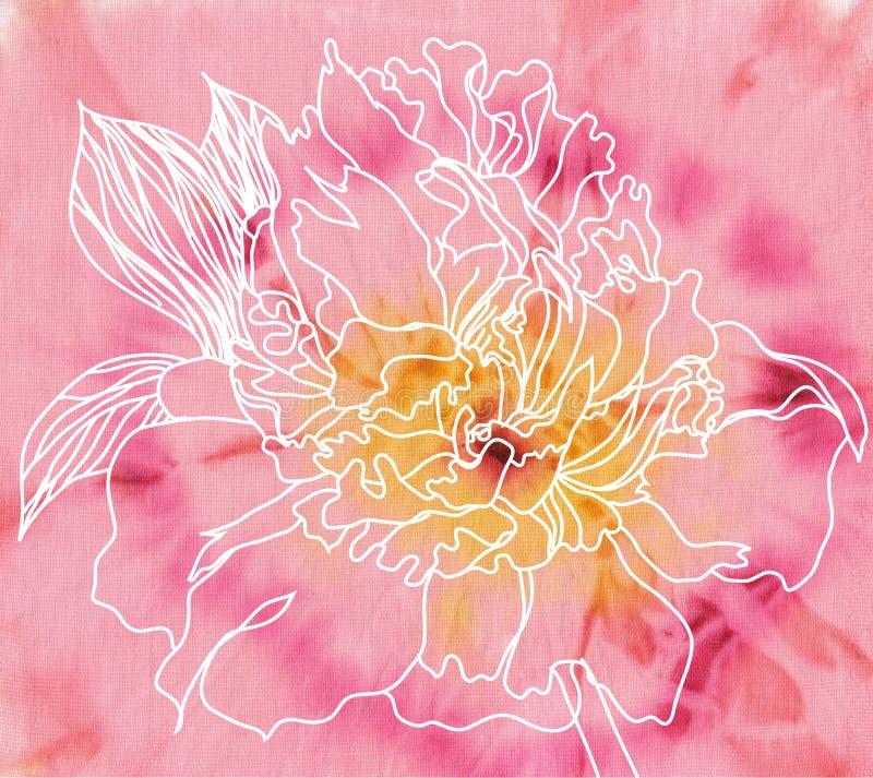 背景蜡染布花牡丹 向量例证