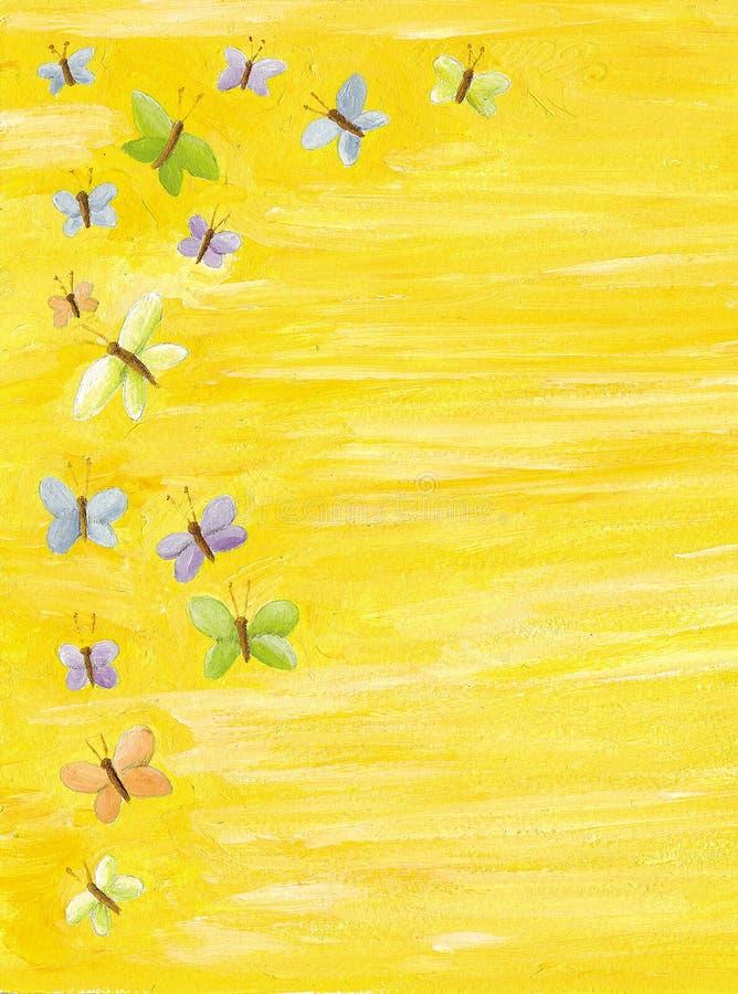 背景蝴蝶五颜六色的黄色 皇族释放例证