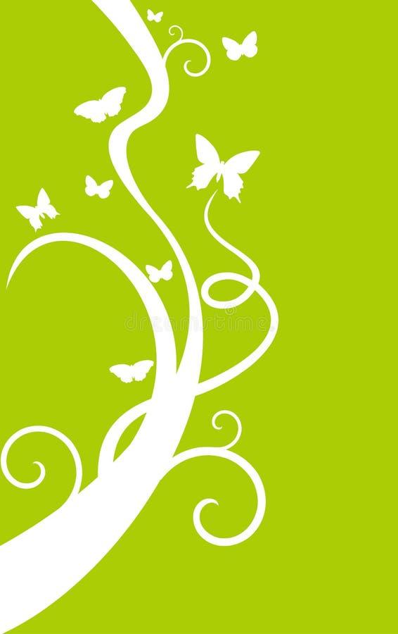 背景蝴蝶绿色结构树白色 库存例证