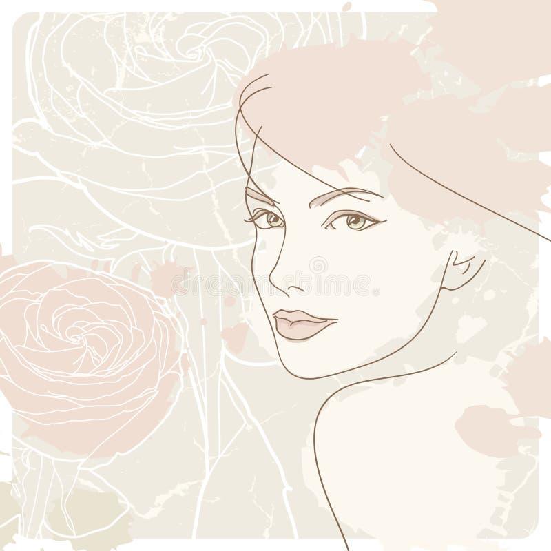 背景表面玫瑰色s妇女 向量例证