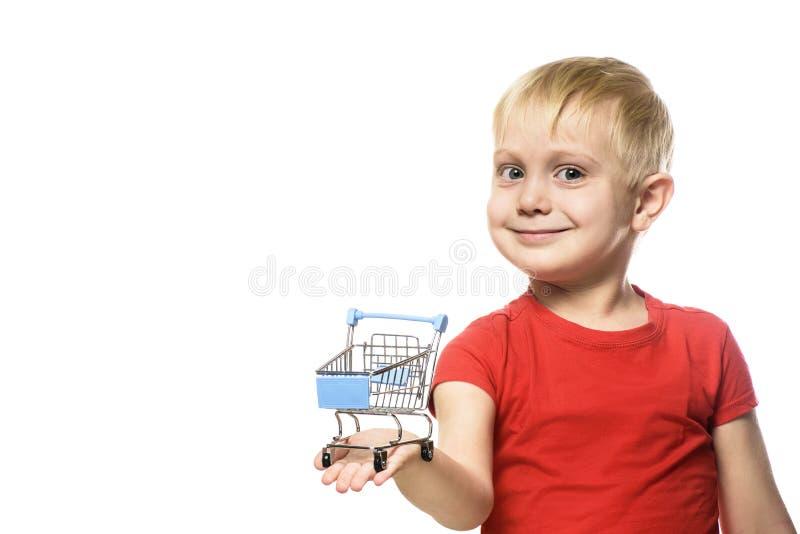 背景袋子概念行程购物的白人妇女 拿着一辆小金属购物台车的红色T恤杉的白肤金发的逗人喜爱的矮小的微笑的男孩 在空白背景的孤立 免版税图库摄影