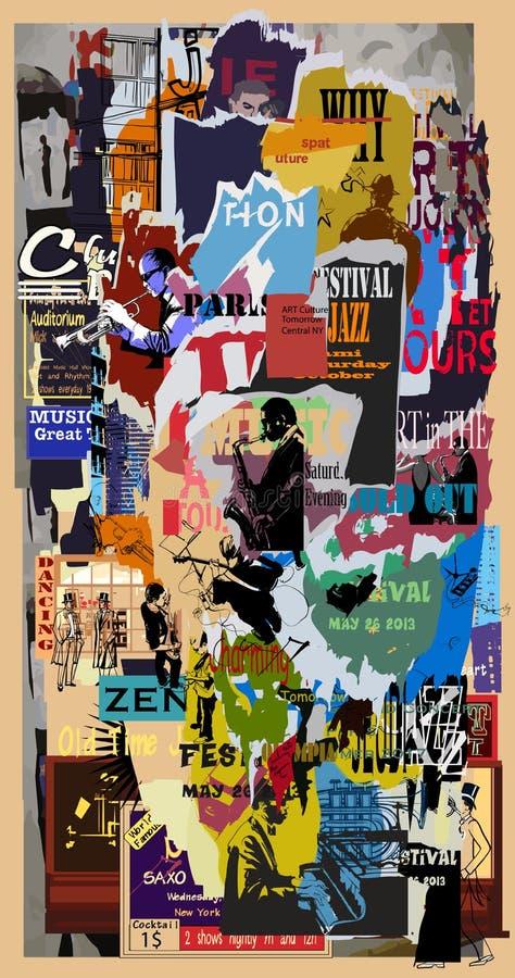 背景被剥去的grunge海报 向量例证