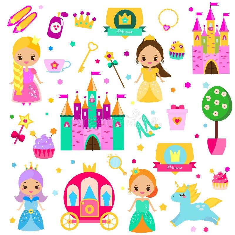 背景被画的现有量例证公主集合白色 传染媒介童话女孩元素的大收藏 城堡、独角兽,支架和其他 对贴纸,剪贴薄, m 库存例证