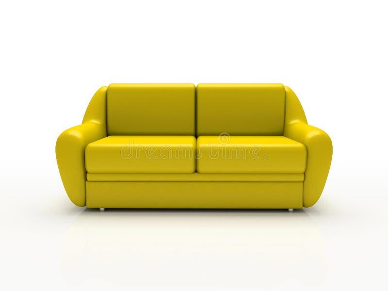背景被绝缘的沙发空白黄色 向量例证