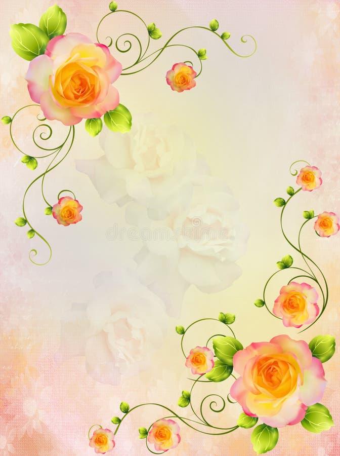 背景装饰玫瑰 库存例证