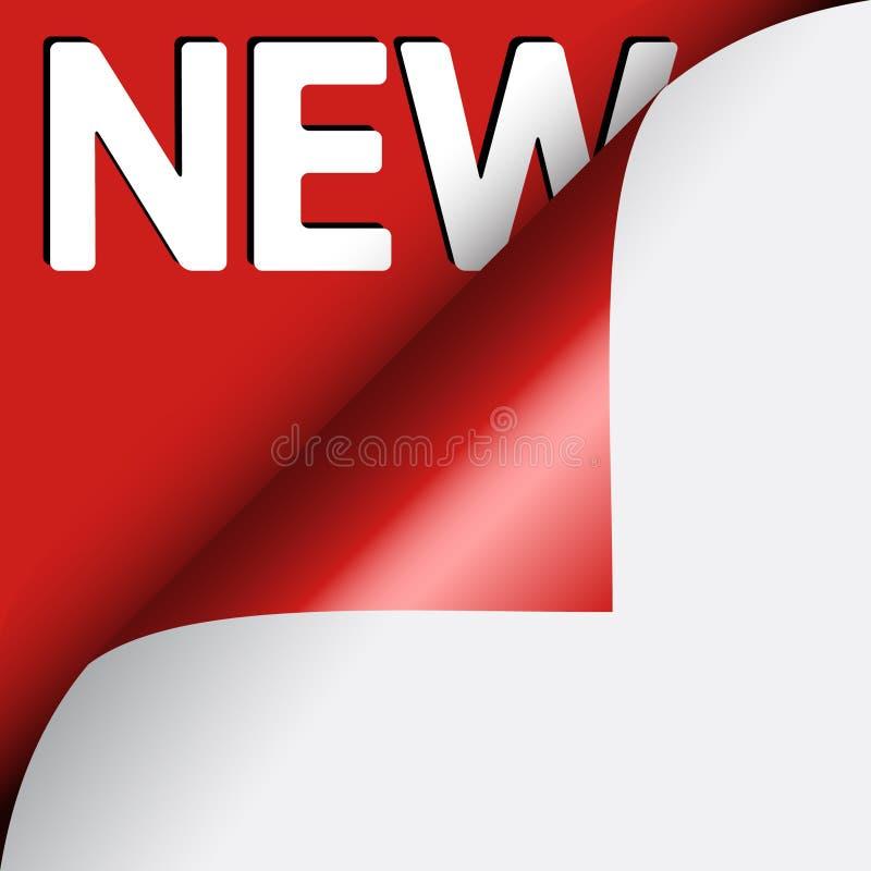 背景角落卷曲的新的红色文本下 免版税库存图片