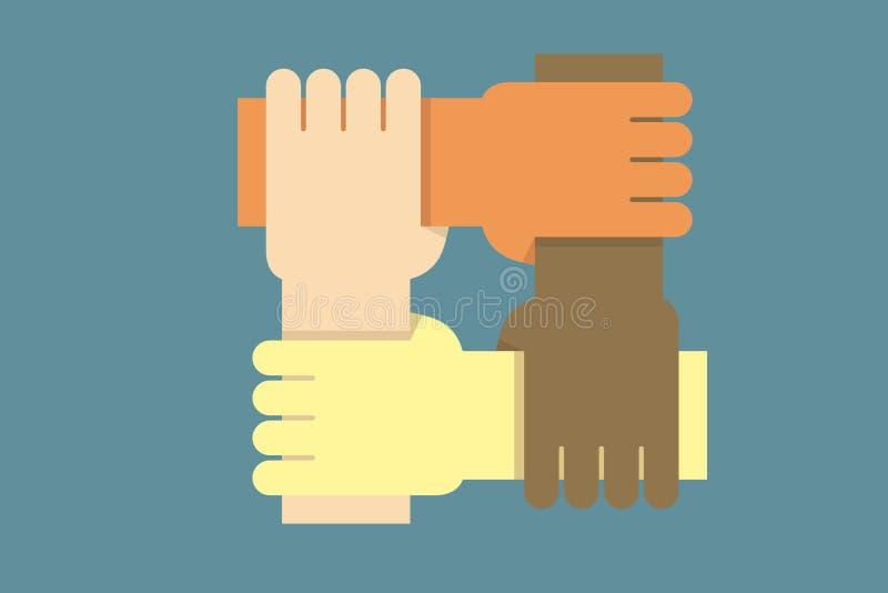 背景设计用从一起不同的种族的人的手作为一个 社区的概念的传染媒介例证, 库存例证