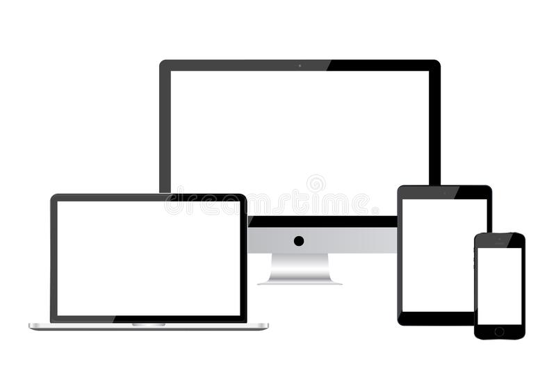 背景设计设备数字式例证白色 膝上型计算机,片剂,显示器 向量例证