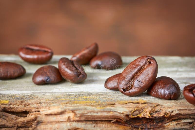 背景豆咖啡木头 库存图片