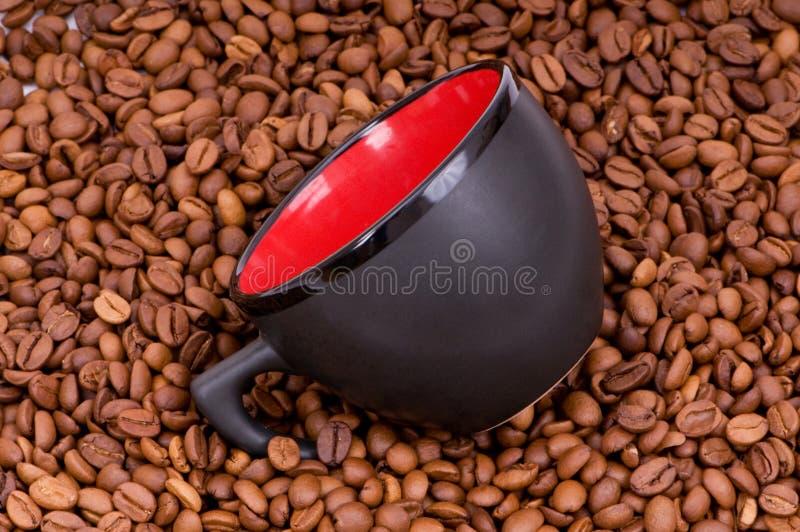 背景豆咖啡杯红色 库存照片