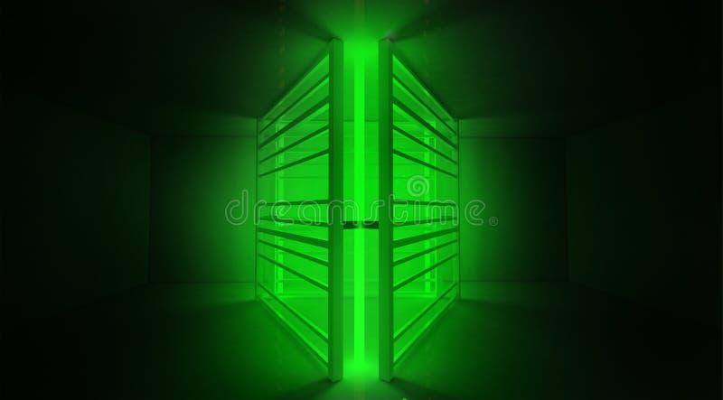 背景趋向颜色飞碟绿色 有楼梯的金属建筑突出与新的光 图库摄影
