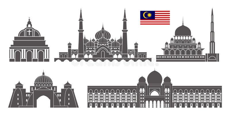 背景边界国家(地区)详述标志图标查出的马来西亚地区集合形状白色 在白色背景的被隔绝的马来西亚建筑学 向量例证