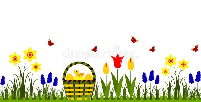 背景边界复活节彩蛋在白色的草绿色 向量例证