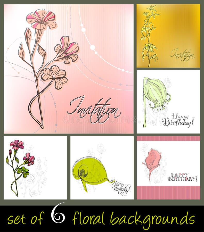 背景逗人喜爱的花卉集春天 向量例证