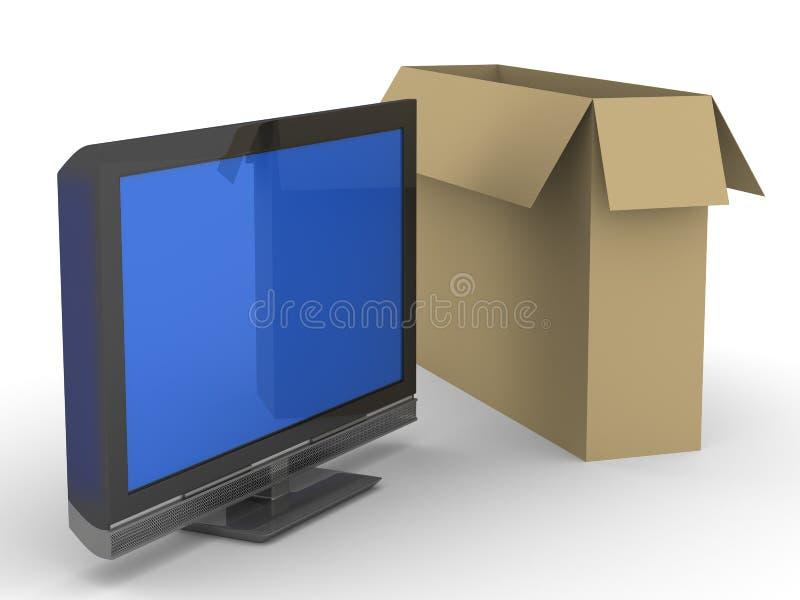 背景配件箱电视白色 皇族释放例证