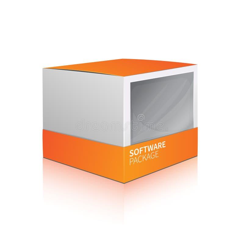 背景配件箱尺寸程序包软件三白色 向量例证