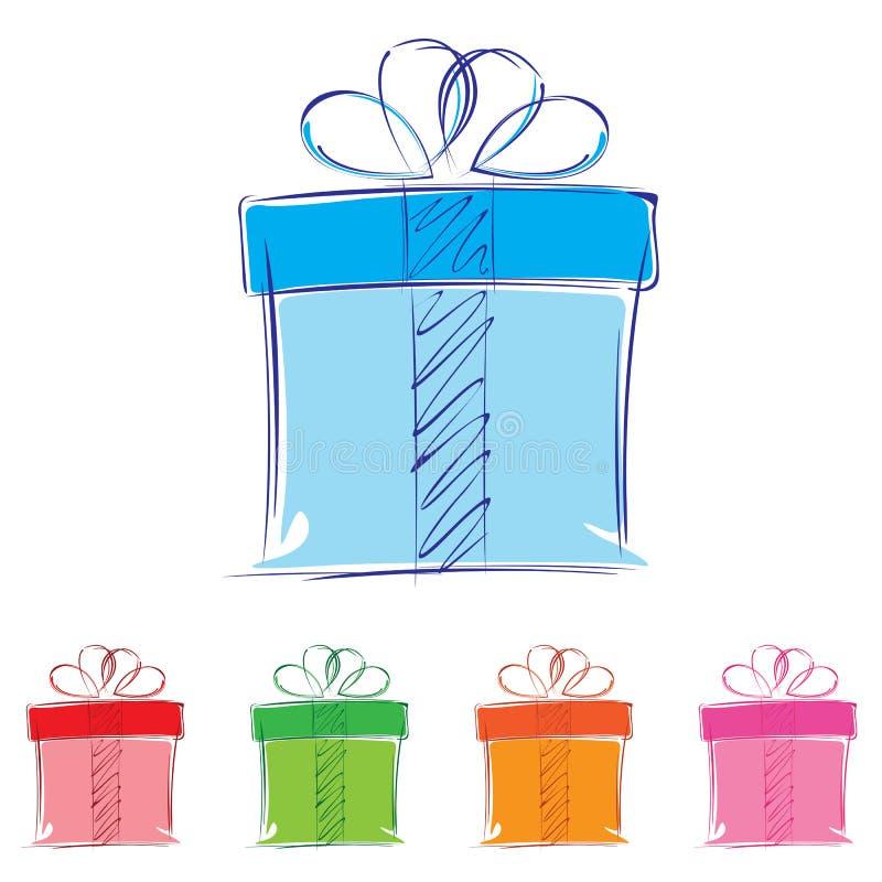 背景配件箱礼品查出的白色 多彩多姿的礼物盒 库存例证