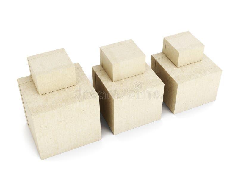 背景配件箱自由纸板的概念查出发运栈白色 3d回报 向量例证