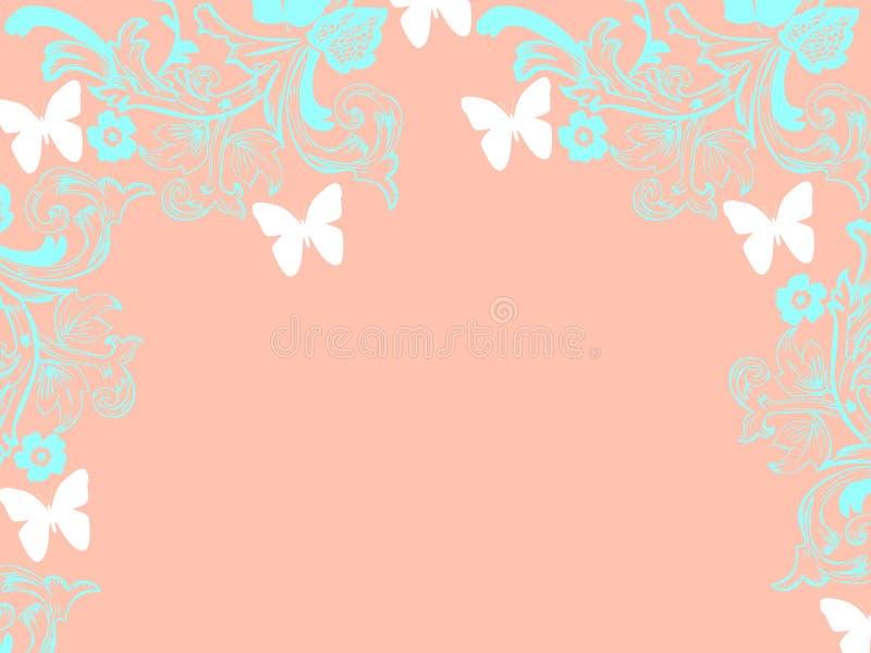 背景重复卡片桃红色背景白色蝴蝶 皇族释放例证