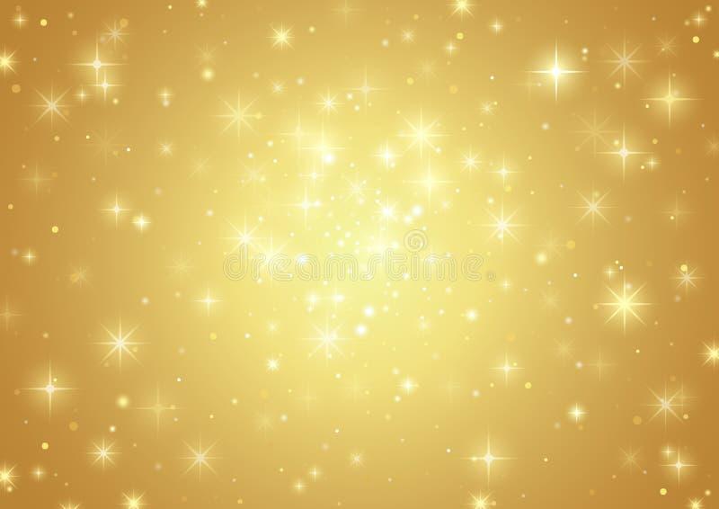 背景金例证新的星形年 向量例证
