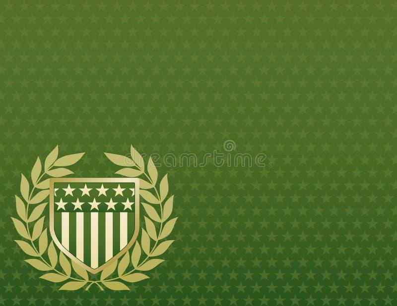 背景金子绿色盾星形 免版税库存图片